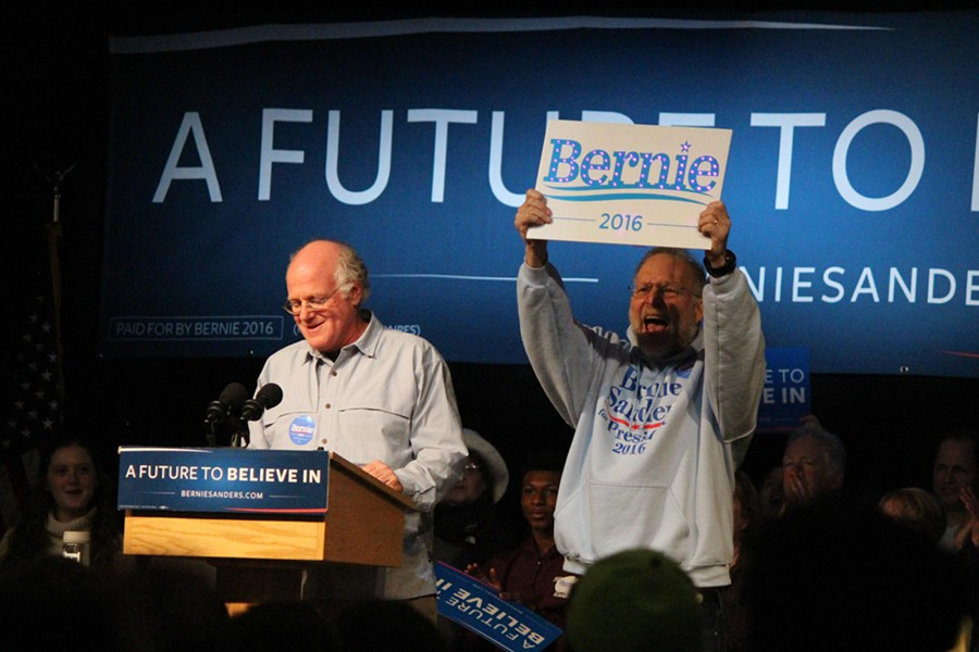 Ben Cohen and Jerry Greenfield introduce Sen. Bernie Sanders Friday in Exeter, N.H. - PAUL HEINTZ