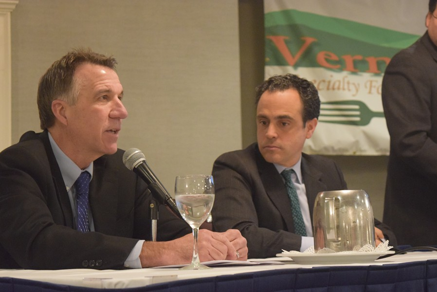 Lt. Gov. Phil Scott (left) and former state senator Matt Dunne at a forum for gubernatorial candidates. - TERRI HALLENBECK