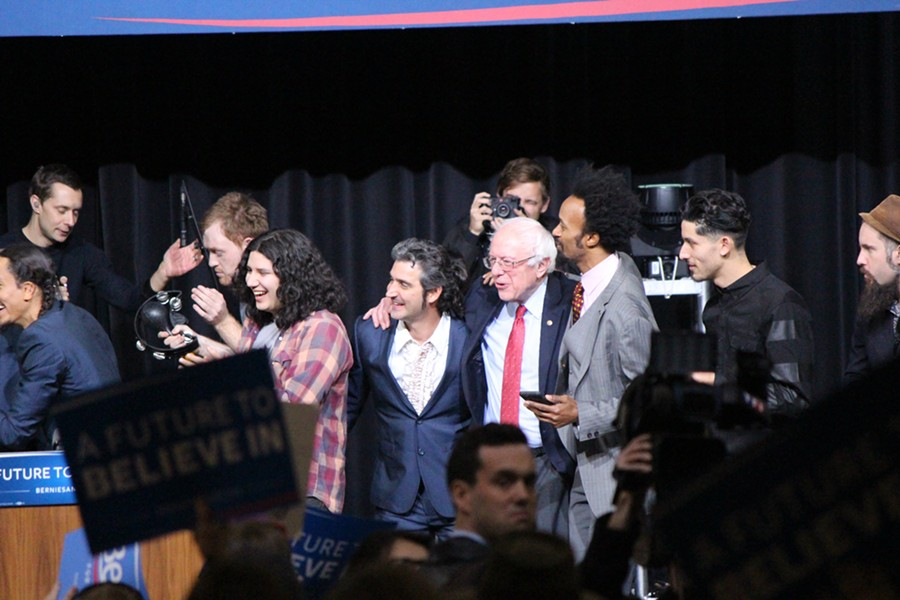 "Sanders and supporters sing ""This Land Is Your Land"" at a concert in Henderson, Nevada. - PAUL HEINTZ"