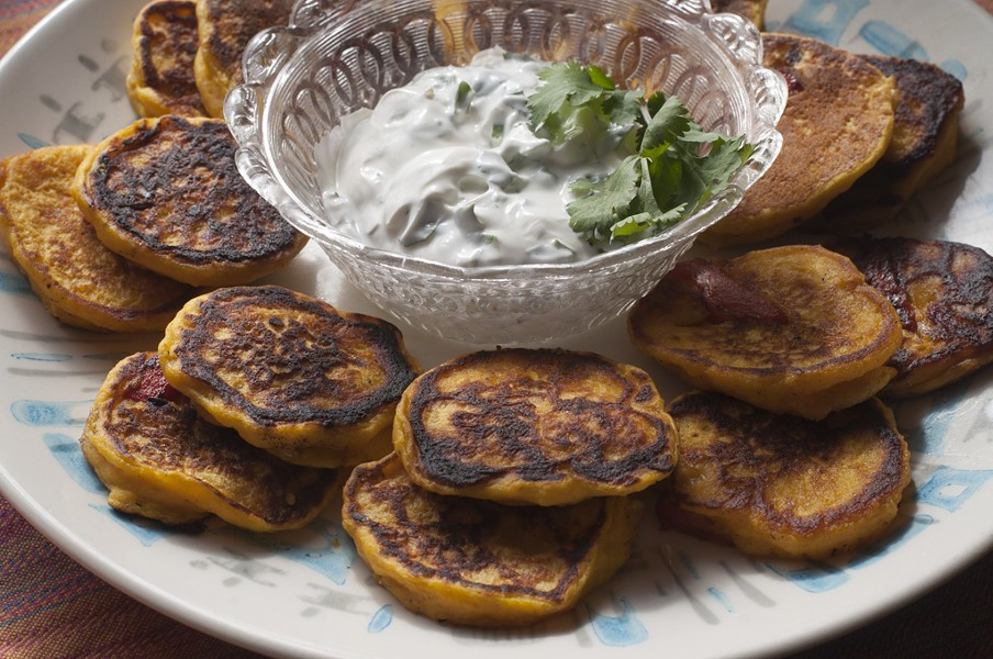 Winter squash blini with cilantro sour cream - HANNAH PALMER EGAN