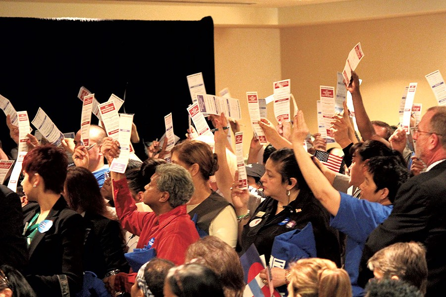 Clinton supporters at a Las Vegas caucus - PAUL HEINTZ
