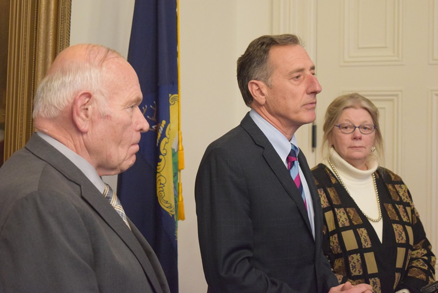 Gov. Peter Shumlin heralds a Senate vote for legalizing marijuana as Sens. Dick Sears and Jeanette White look on. - TERRI HALLENBECK