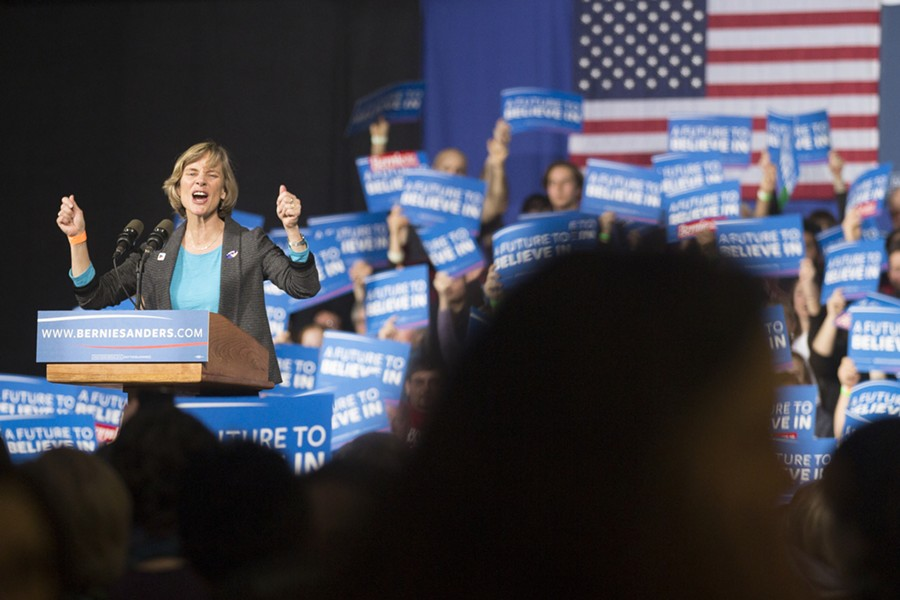 Sue Minter speaks at Sen. Bernie Sanders' Super Tuesday rally in Essex. - JAMES BUCK