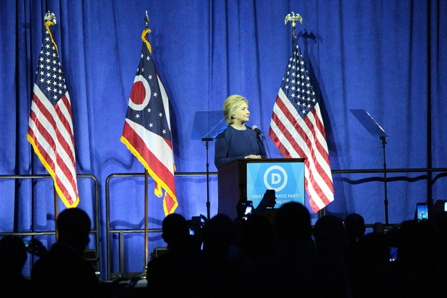 Hillary Clinton addresses Ohio Democrats Sunday night in Columbus. - PAUL HEINTZ
