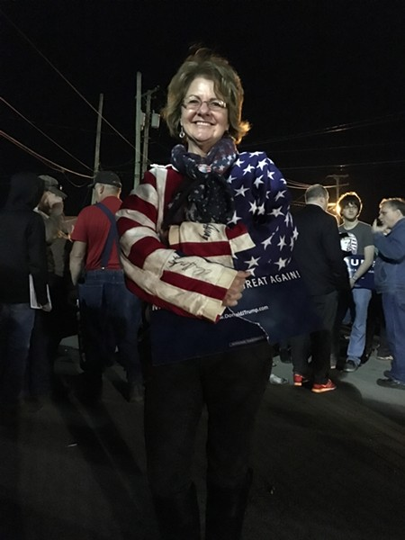 Jennifer Razo outside a Trump rally Monday in Vienna, Ohio - PAUL HEINTZ