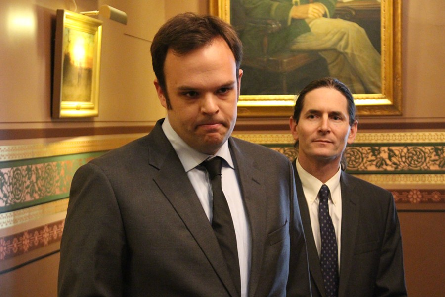 Brandon Riker, left, and Sen. David Zuckerman Wednesday at the Statehouse - PAUL HEINTZ