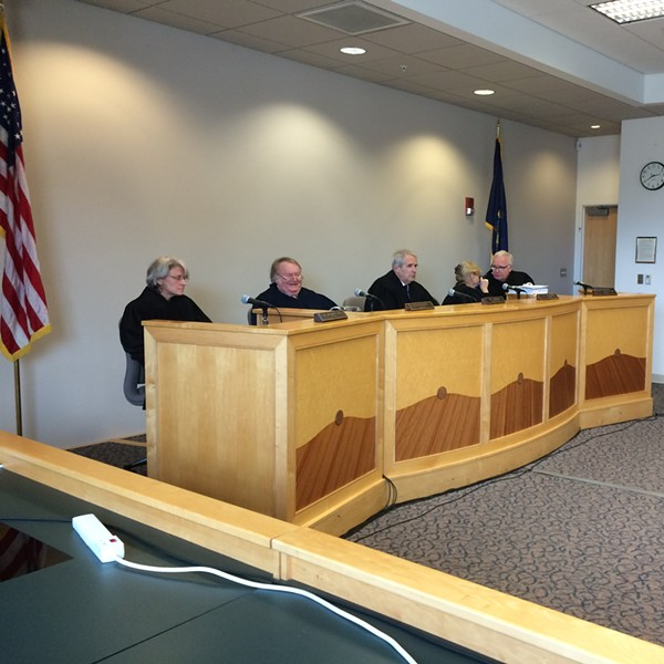 The Vermont Supreme Court holds a hearing at Vermont Law School in South Royalton. - MARK DAVIS
