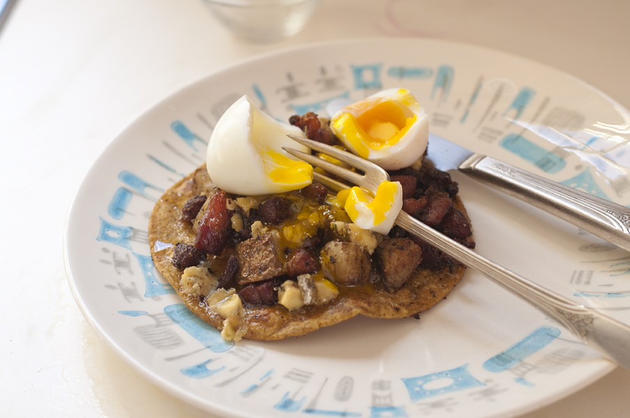 Honey-drizzled ham-and-potato tostada — with optional egg - HANNAH PALMER EGAN