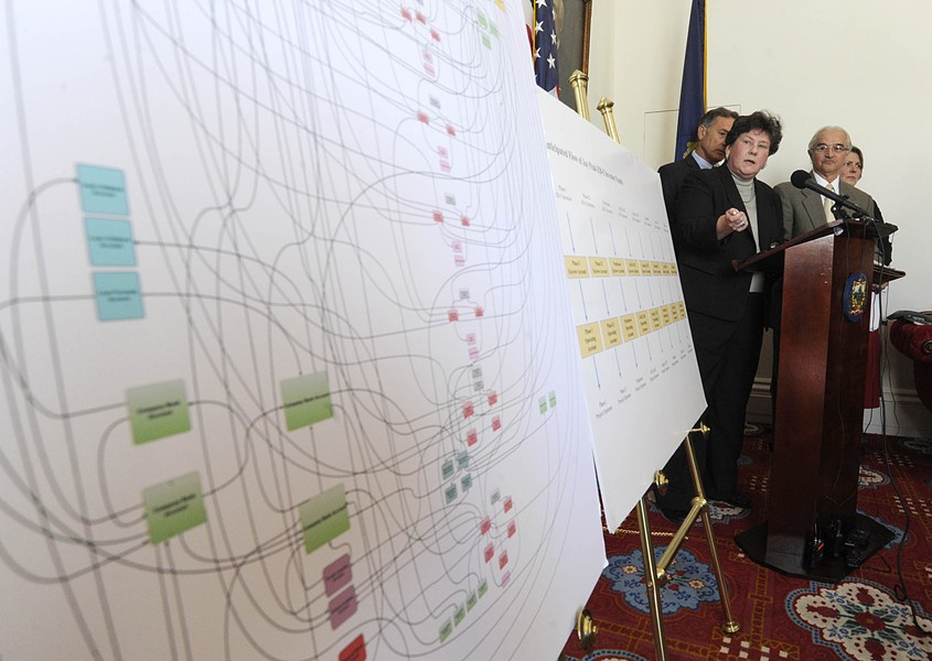 Department of Financial Regulation Commissioner Susan Donegan points to a chart detailing the alleged inappropriate flow of funds within Jay Peak and Q Burke EB-5 projects during a press conference Thursday at the Statehouse. - JEB WALLACE-BRODEUR