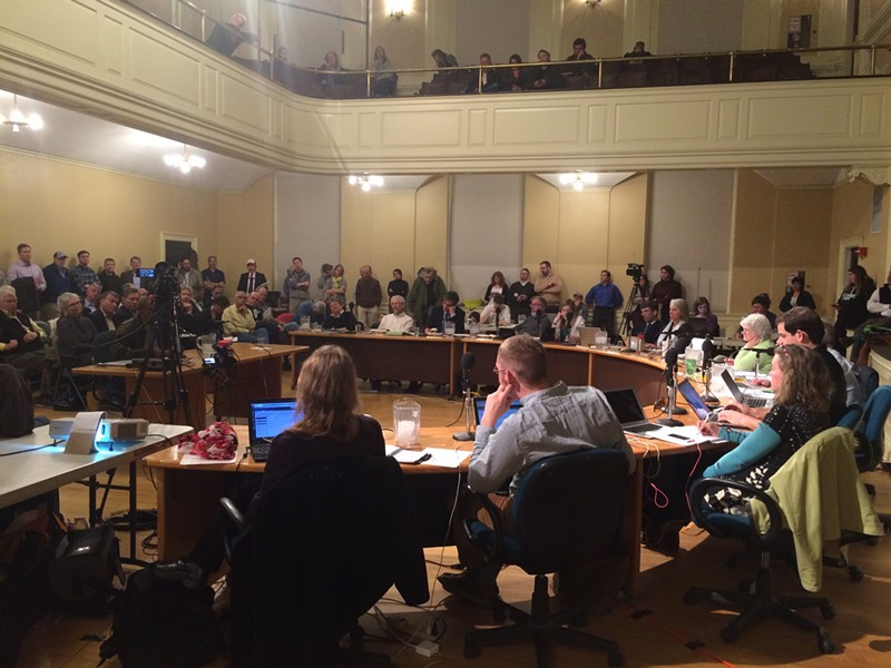 Residents crowded into City Hall last night to weigh in on the Burlington Town Center proposal. - ALICIA FREESE
