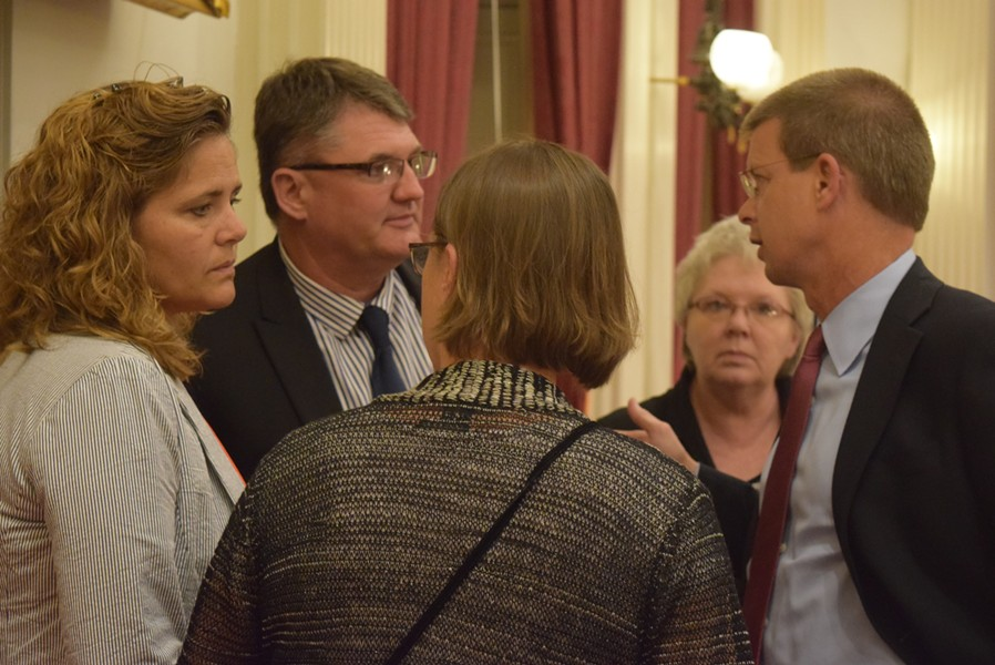 House leaders confer late Monday on marijuana legislation. - TERRI HALLENBECK