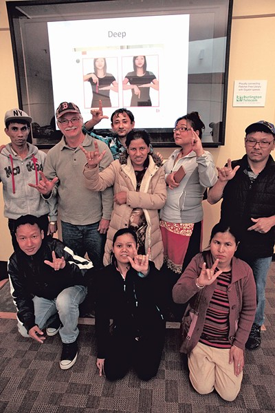 ASL class for Bhutanese at the Fletcher Free Library - MATTHEW THORSEN