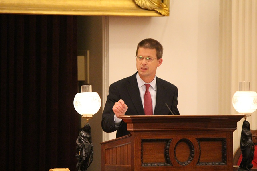 House Speaker Shap Smith speaks Friday night at the Statehouse. - PAUL HEINTZ