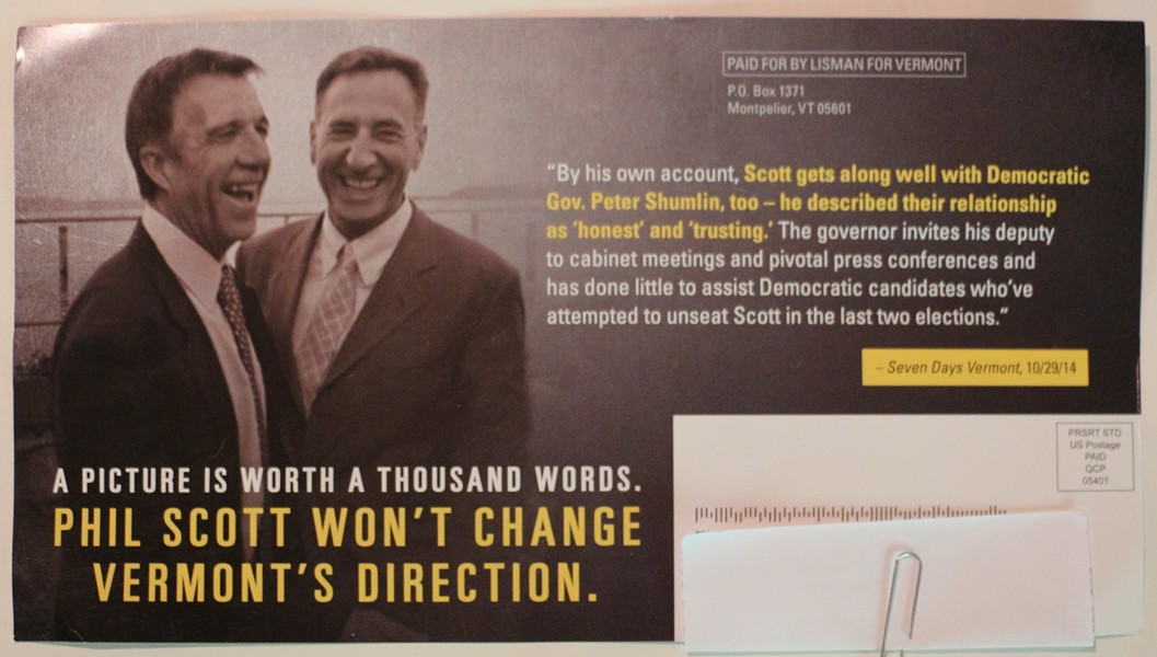 The second of two Bruce Lisman campaign fliers targeting rival Phil Scott - LISMAN FLIER