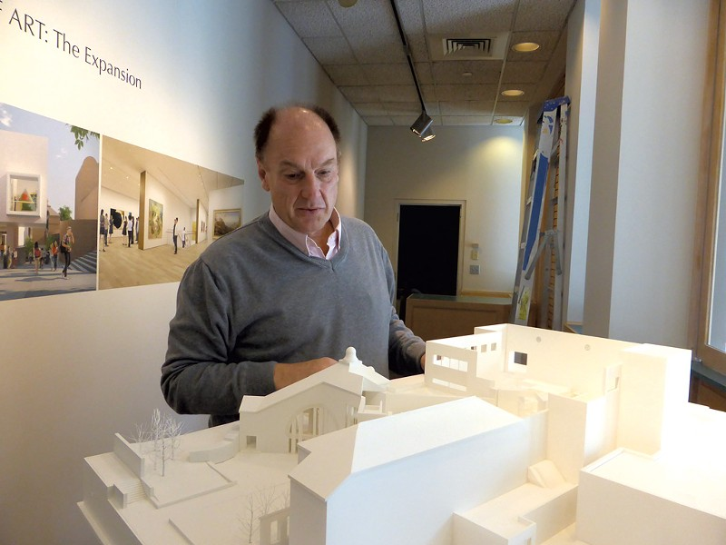 John Stomberg with a model of the Hood Museum renovation - JIM SCHLEY