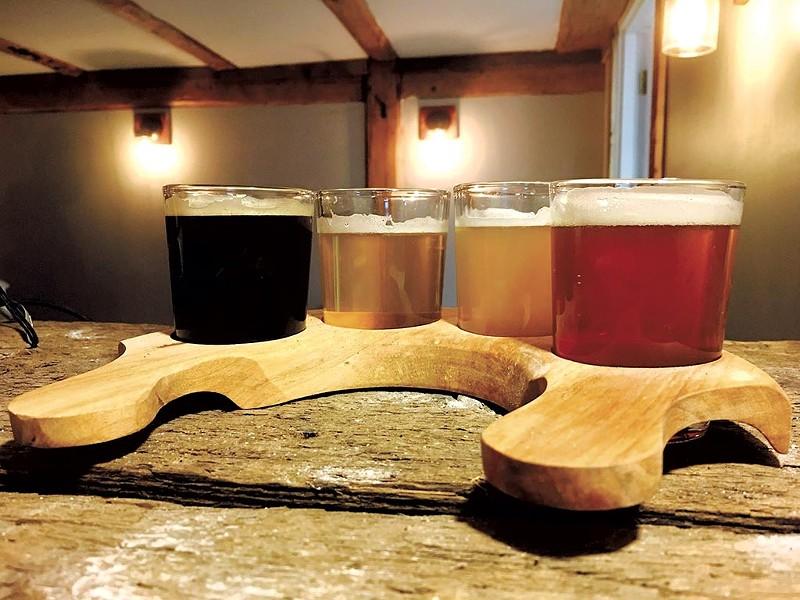Beer flight at Red Barn Brewin