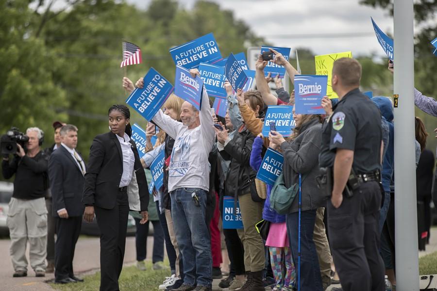 Vermonters welcome Sen. Bernie Sanders home Wednesday in South Burlington. - JAMES BUCK