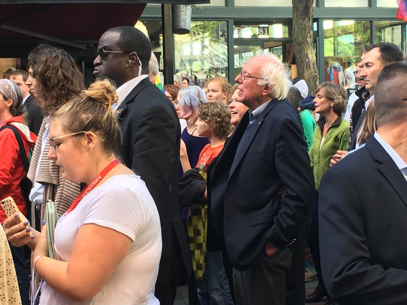 Sen. Bernie Sanders marches down Church Street. - MATTHEW ROY