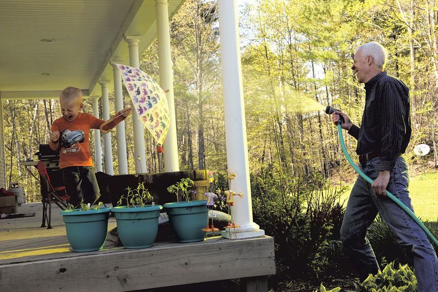 Michael Wheeler sprays son Elliot - MATTHEW THORSEN