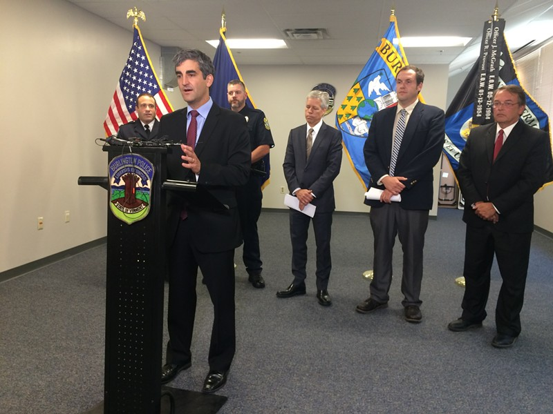 Burlington Mayor Miro Weinberger speaks, flanked by  (right to left) Barre Mayor Thom Lauzon, Winooski Mayor Seth Leonard, Montpelier Mayor John Hollar and law enforcement officials. - MARK DAVIS