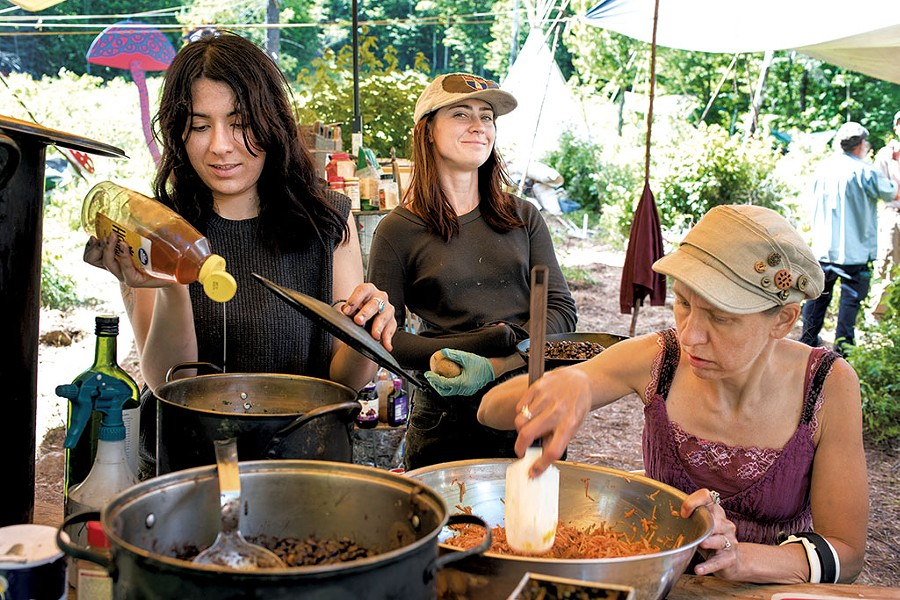 Eloisa, Emily and Pearly Gates cooking - CALEB KENNA