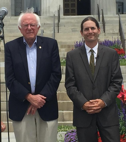 Sen. Bernie Sanders and Sen. David Zuckerman earlier this year in Montpelier - COURTESY: DAVID ZUCKERMAN