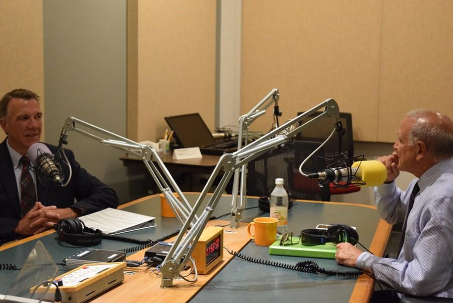 Lt. Gov. Phil Scott, left, and Bruce Lisman Wednesday at a Vermont Public Radio debate in Colchester - FILE: TERRI HALLENBECK
