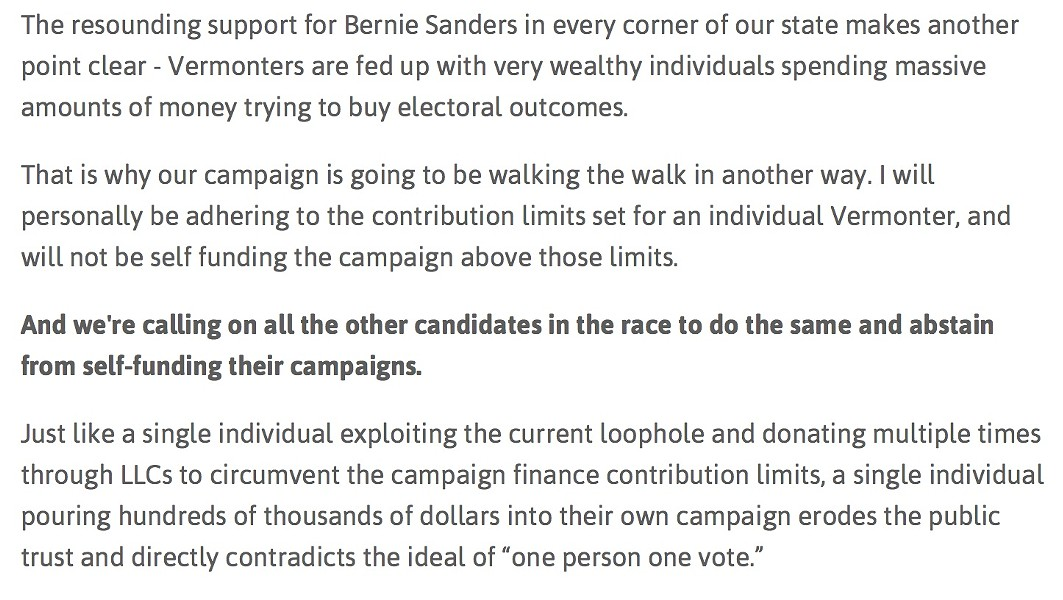 A campaign pledge from Democrat Matt Dunne's website - SCREENSHOT