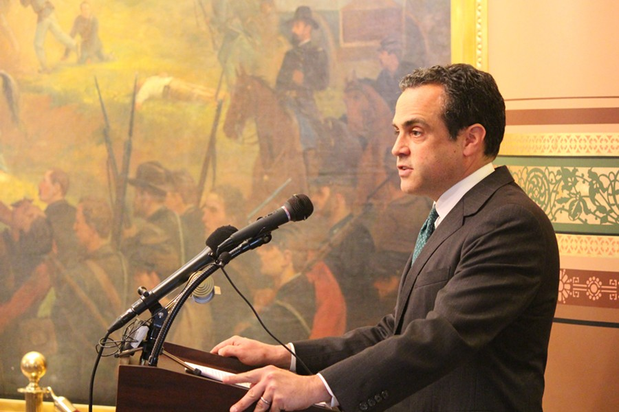 Democratic gubernatorial candidate Matt Dunne at a Statehouse press conference in May during which he pledged to refrain from self-financing. - FILE: PAUL HEINTZ