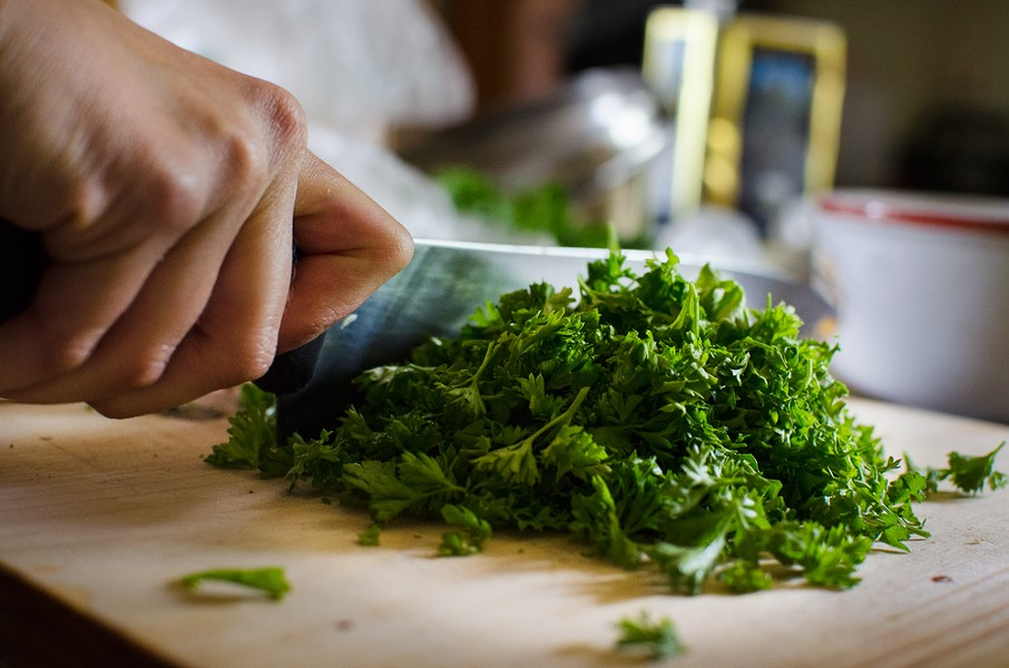 Chopping curly parsley for gremolata - H.B. WILCOX PHOTOGRAPHY