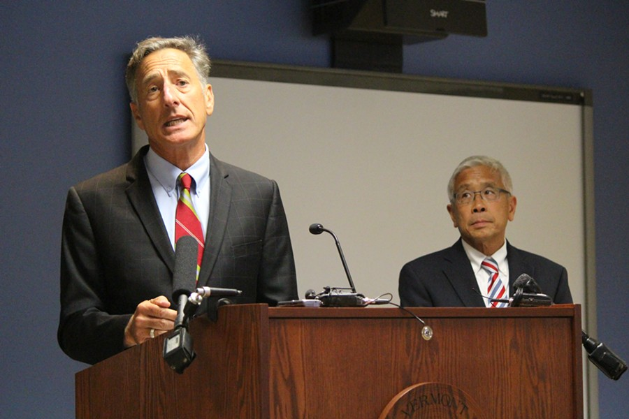 Gov. Peter Shumlin and Health Commissioner Harry Chen Thursday in Burlington - PAUL HEINTZ