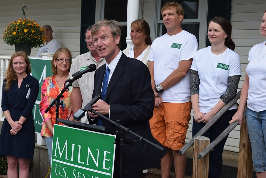 Republican Scott Milne speaks Saturday as he formally kicks off his campaign for U.S. Senate in the town of Washington. - TERRI HALLENBECK