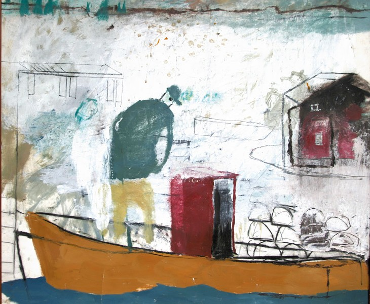 "Fisherman,"" mixed media on paper by Donald Saaf - COURTESY OF KENT MUSEUM"