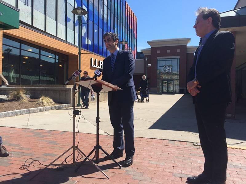 Mayor Miro Weinberger announced his TIF proposal with Don Sinex outside the Burlington Town Center. - FILE: ALICIA FREESE