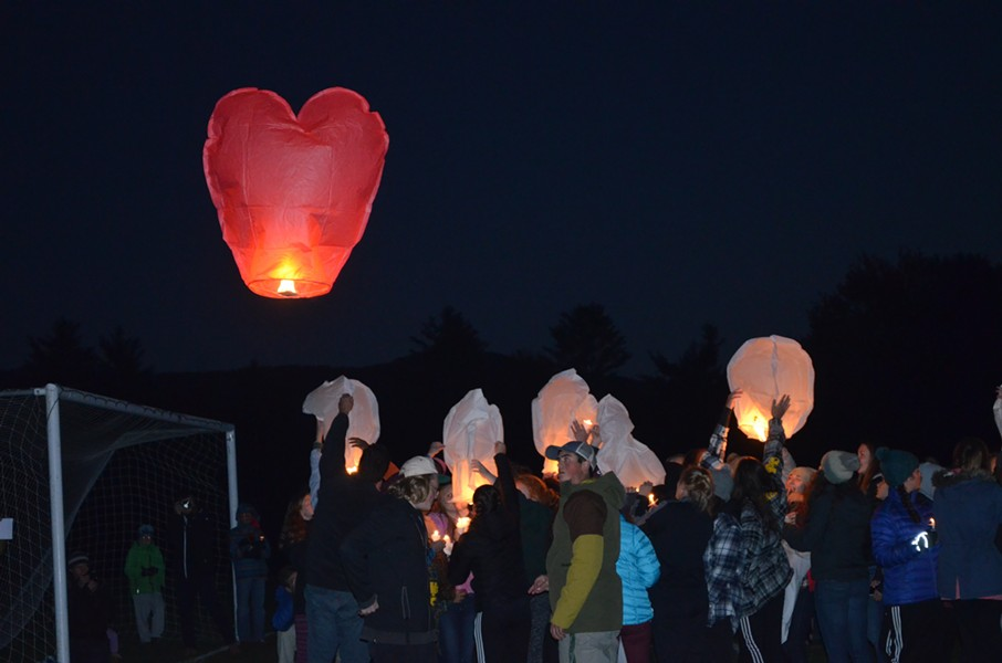 Sky lanterns being released at the vigil - ALICIA FREESE
