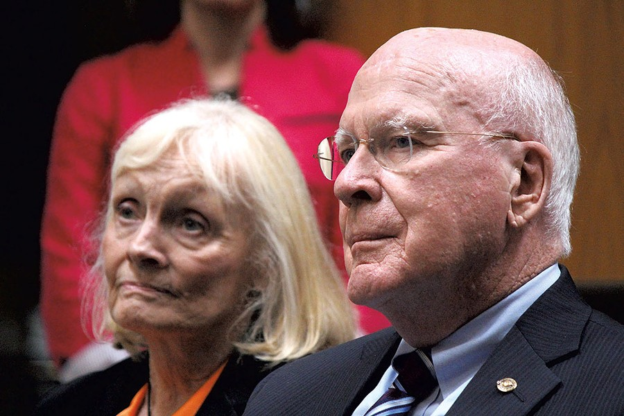 Marcelle and Sen. Patrick Leahy in Barre - PAUL HEINTZ