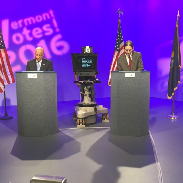 Republican Randy Brock (left) and Progressive/Democrat David Zuckerman, candidates for lieutenant governor, debate Thursday at Vermont PBS. - TERRI HALLENBECK