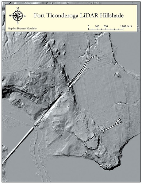 LiDAR image of Fort Ticonderoga