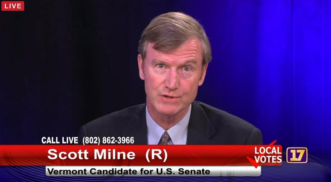 Scott Milne at a Channel 17 debate Tuesday in Burlington - SCREENSHOT
