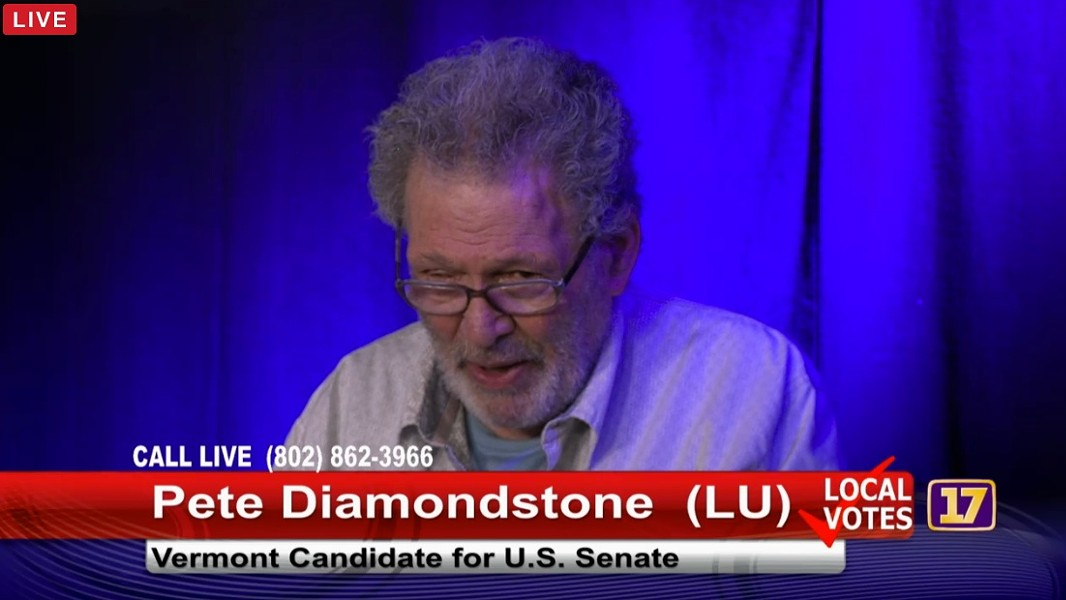 Peter Diamondstone at a Channel 17 debate Tuesday in Burlington - SCREENSHOT