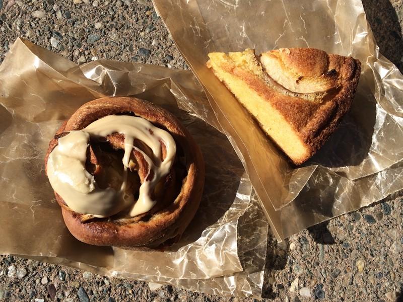 Apple cinnamon piroshki and Anjou-Amaretto polenta cake - JULIA CLANCY