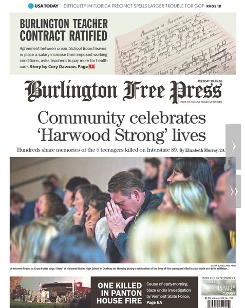 Tuesday's Burlington Free Press - SCREENSHOT
