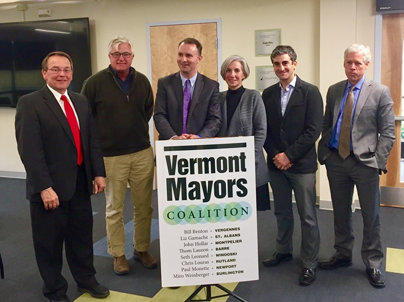 Chittenden County State's Attorney T.J. Donovan, center left, receiving an endorsement in Barre on Friday from Barre Mayor Thom Lauzon, Vergennes Mayor Bill Benton, St. Albans Mayor Liz Gamache, Burlington Mayor Miro Weinberger and Montpelier Mayor John Hollar - COURTESY: BURLINGTON CITY HALL