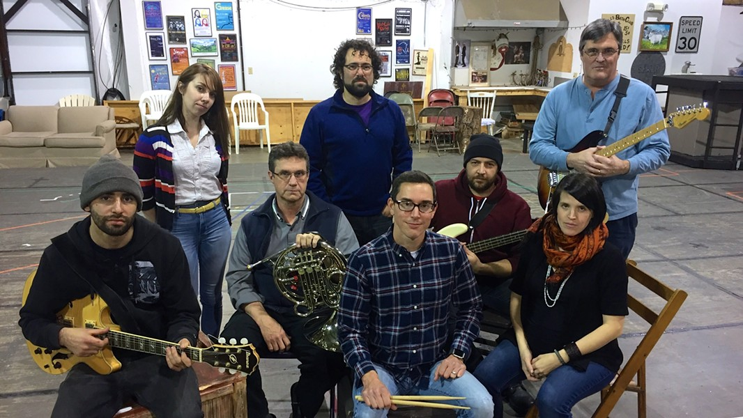 The band, L-R: Max Bronstein-Paritz, Andriana Chobot, Tom Whitney, Nate Venet, Matt Guzowski, Rob O'Dea, Marie Claire Johnson, Tom Walters - JORDAN ADAMS