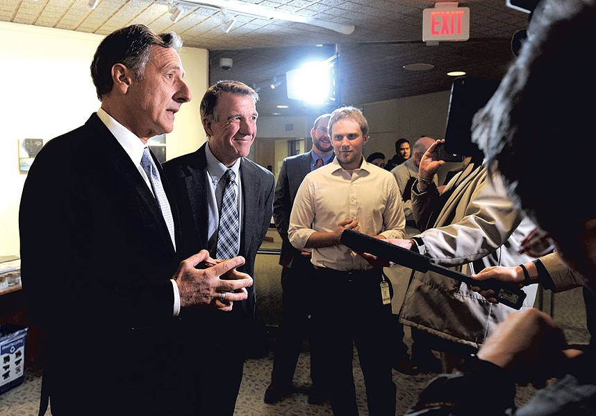 Far left: Gov. Peter Shumlin and governor-elect Phil Scott - JEB WALLACE-BRODEUR