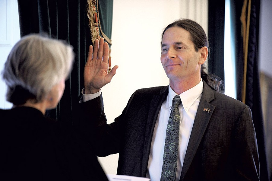 Lt. Gov. David Zuckerman being sworn into office - JEB WALLACE-BRODEUR