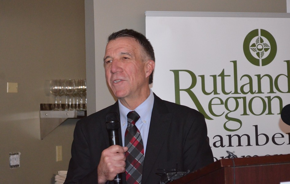 Gov. Phil Scott addresses business leaders Monday in Rutland. - ALICIA FREESE