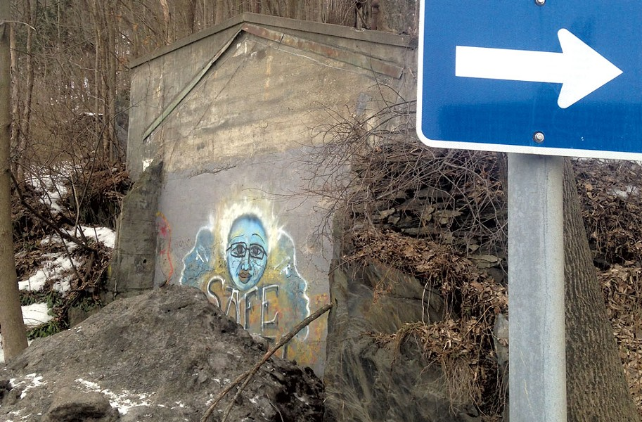 Mystery wall at the intersection of Northfield Street and Memorial Drive in Montpelier - KEN PICARD