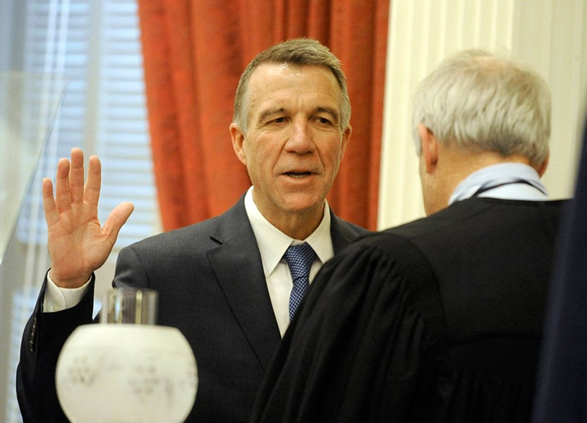 Gov. Phil Scott taking the oath of office. - FILE: JEB WALLACE-BRODEUR