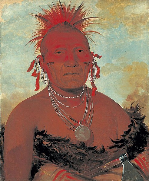 """Shón-ka-ki-he-ga, Horse Chief, Grand Pawnee Head Chief,"" oil painting by George Catlin - COURTESY OF MIDDLEBURY COLLEGE OF ART"